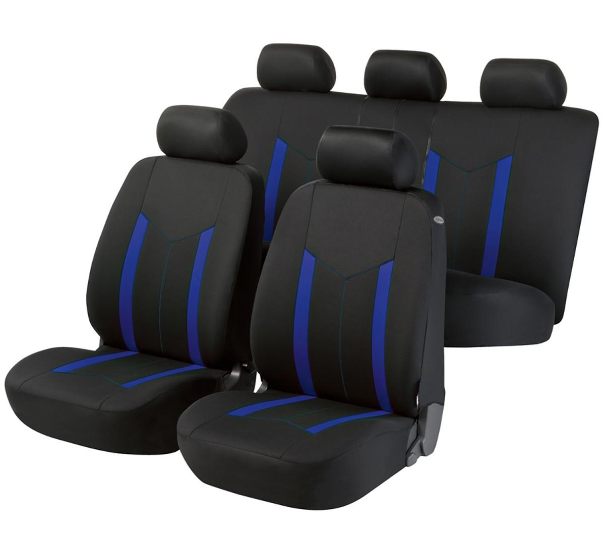 toyota landcruiser housse si ge auto kit complet noir bleu. Black Bedroom Furniture Sets. Home Design Ideas