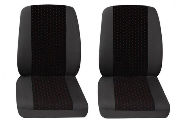 Van Housses pour sièges de voitures, 2 x monoplace, Fiat Fiorino, Couleurs: gris/rouge