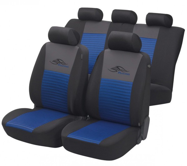 Skoda Superb, Housse siège auto, kit complet, bleu, noir,