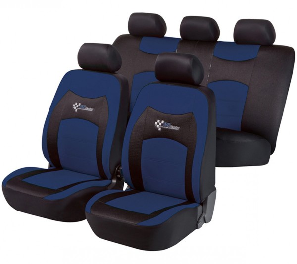 Mazda 121, Housse siège auto, kit complet, noir, bleu