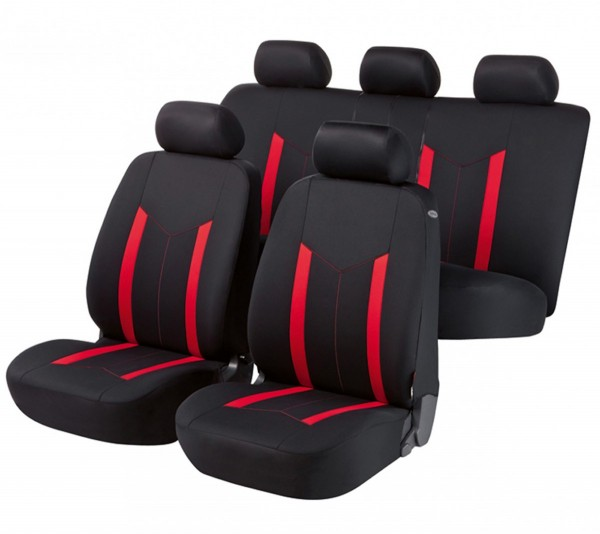 Mazda 626, Housse siège auto, kit complet, noir, rouge